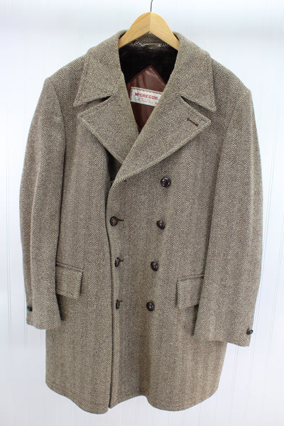 McGregor Vintage Car Coat Brown Herringbone Wool 1970s Faux Fur Lined