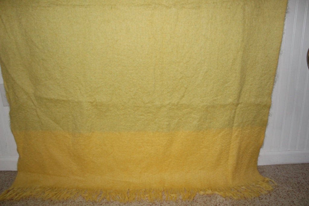 ADORATEX Mohair Blend Fringed Throw Muted Yellow Pale Green acrylic blend