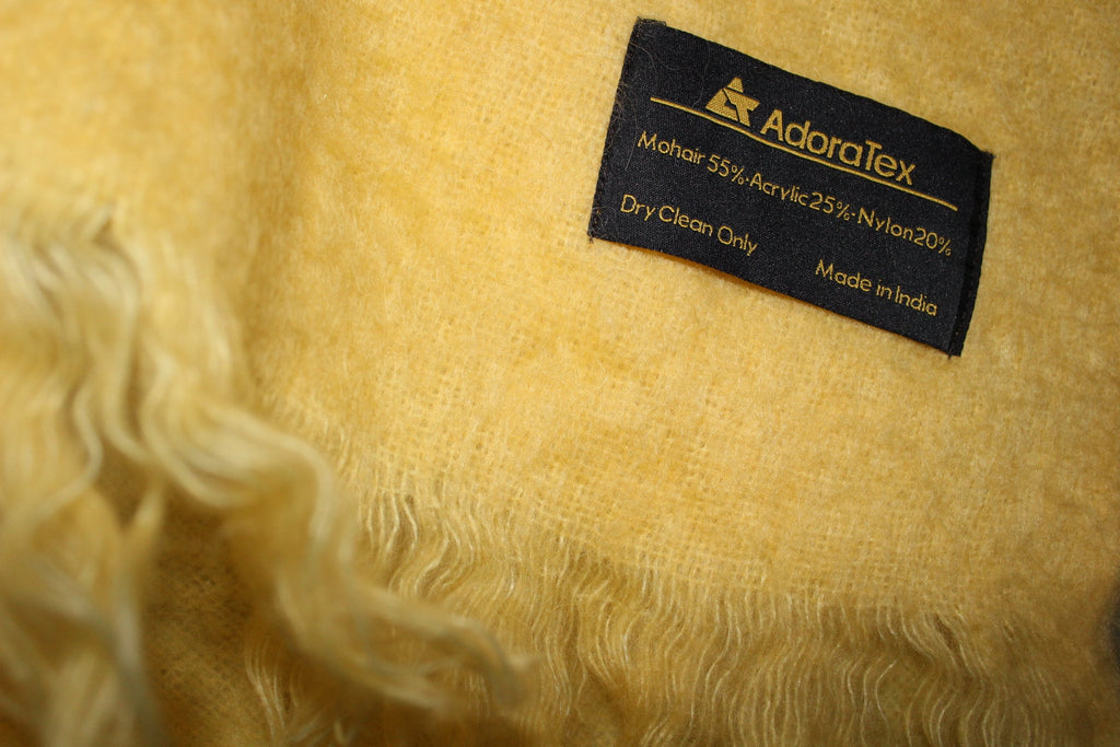 ADORATEX Mohair Blend Fringed Throw Muted Yellow Pale Green soft fluffy