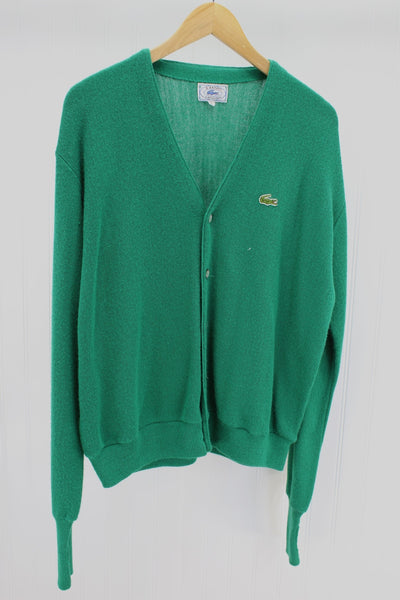 IZOD Lacoste Cardigan Sweater Vintage 1960s Kelly Green Large Size