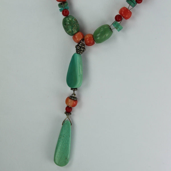 Necklace Turquoise Coral Red Stones Silver Beads Variety Shapes Great Feel Look great colors
