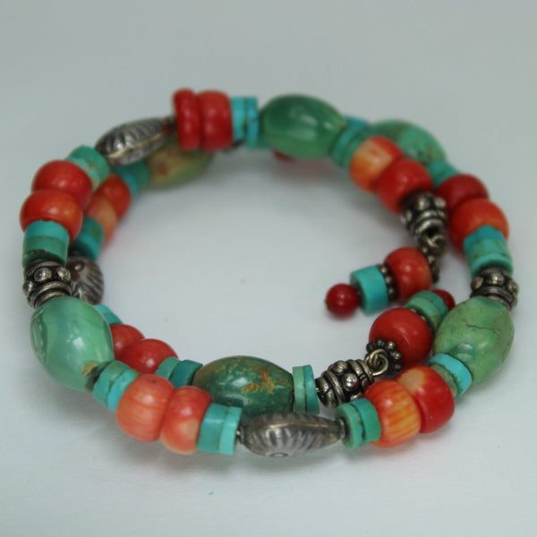 Bracelet Turquoise Coral Red Stones Silver Beads Variety Shapes Wired Adjustable