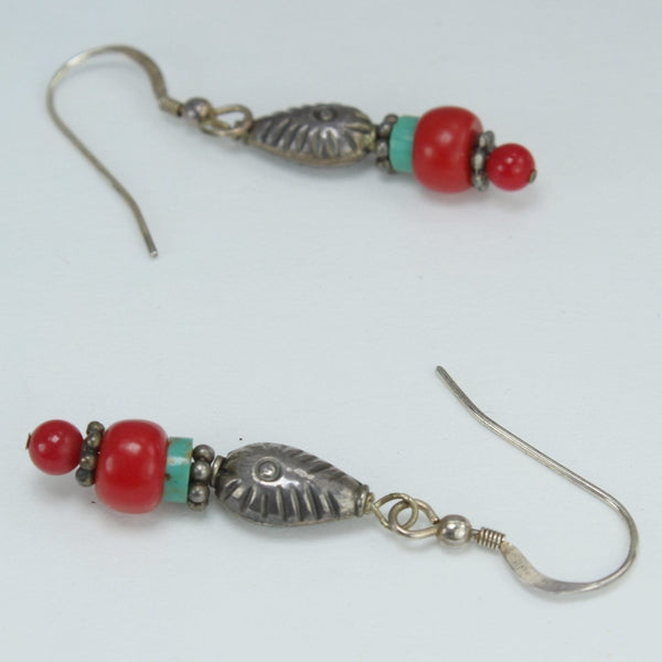 Earrings Turquoise Coral Red Stones Silver Fish Beads Fish Shepherd Hook stone beads