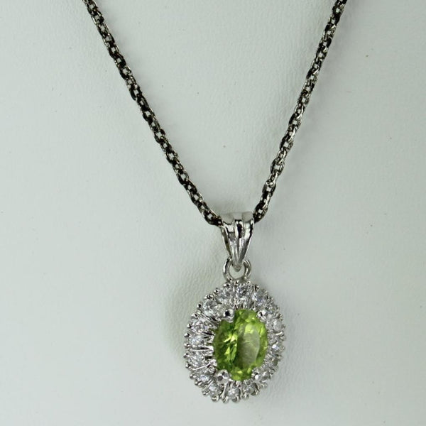 Pendant Necklace Silver Chain Peridot Color Focal