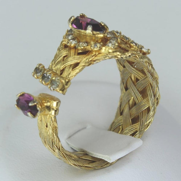 Woven Wire Ring Costume Gold Tone Braided Band Amethyst Color Stone unusual