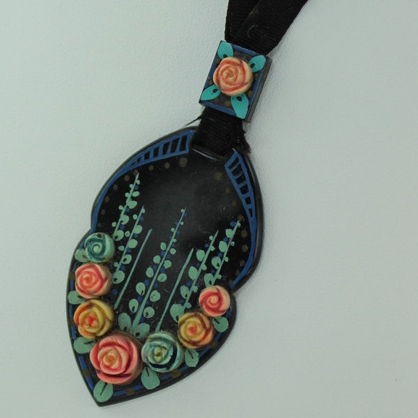 Antique Nouveau Necklace Black Celluloid Pastel Flowers Ribbon Slider Chain