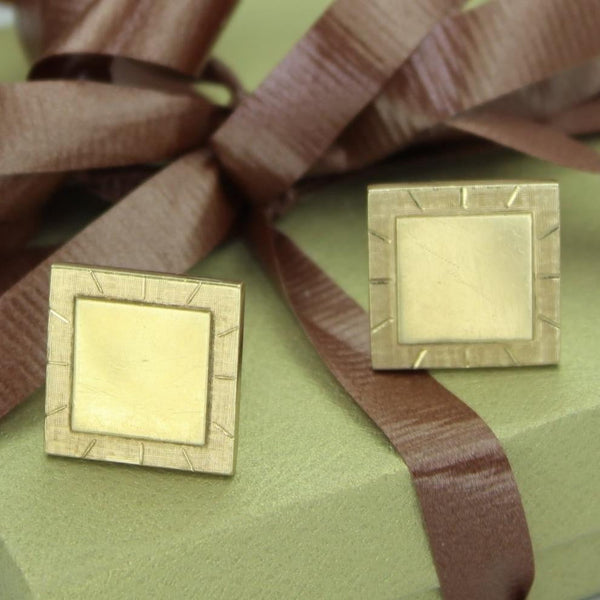Vintage Cuff Links Swank Etched 12K GF Square Heavy 3/4""