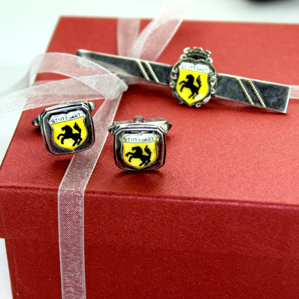 Vintage Stuttgart Porsche Set Cuff Links Tie Bar Prancing Stallion Logo