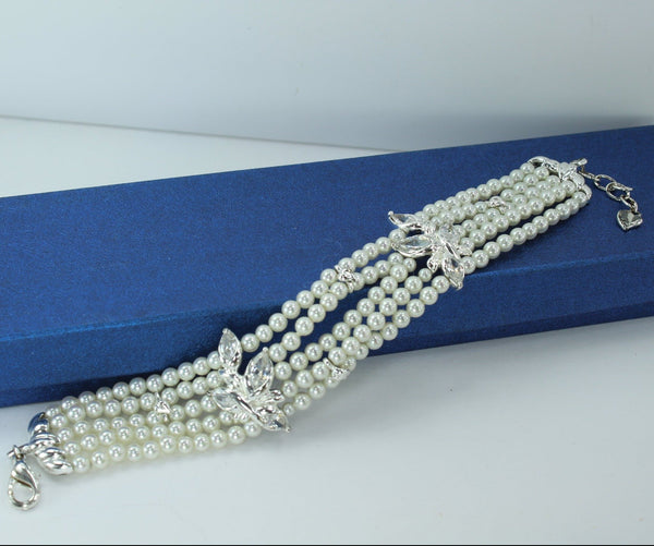 CAROLEE Pearl Bracelet 5 Strand Crystal Flowers Silver Leaves Wedding Accessory