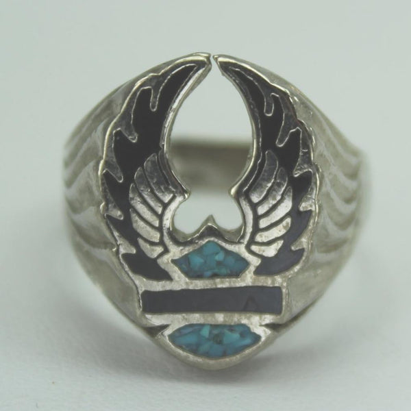 Older Harley Wings Ring Crushed Turquoise Black Inset Size 12