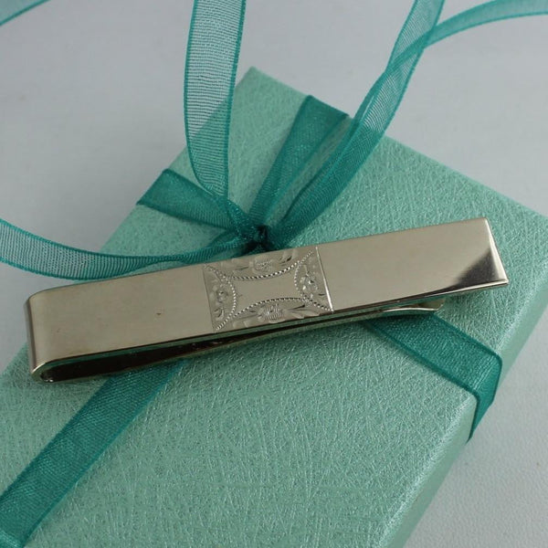 Vintage Hayward Sterling Tie Bar Etched Design Beautiful