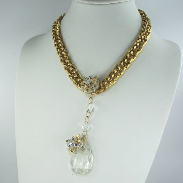 Vintage New Prism Necklace Patzi Re-Design RS Heavy Gold Tone Chain