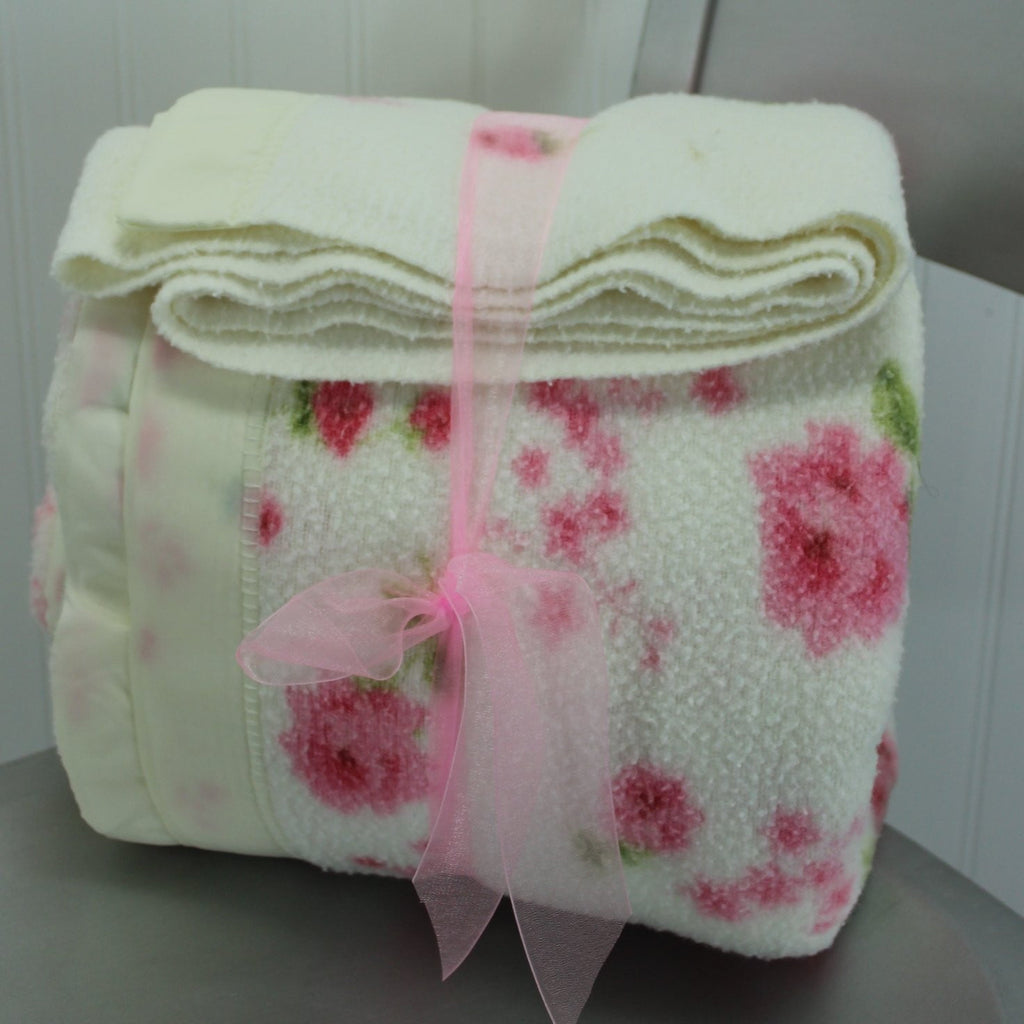 "Poly Cotton Blanket Flowers White Pink Vintage Cottage Chic 69""X82"""