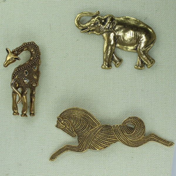 Animal Vintage Pins Lot 3 Unique Giraffe Stylized Horse Elephant  from Estates