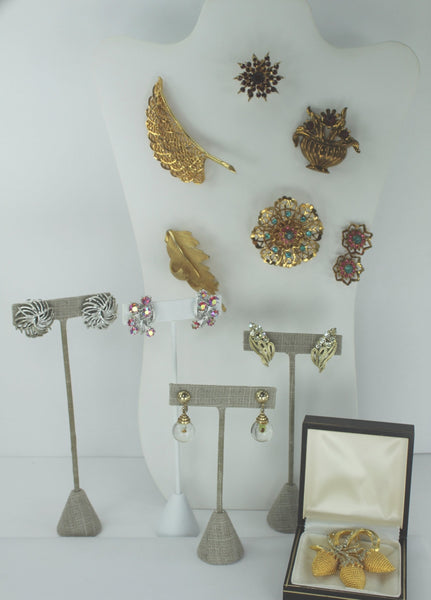 Vintage CORO Jewelry Lot 10 Piece Demi  Earrings Pins Signed Designer
