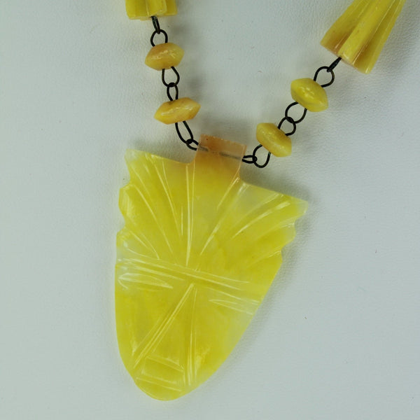 Artisan Necklace Yellow Stone Mask  Pendant Bead Chain carved