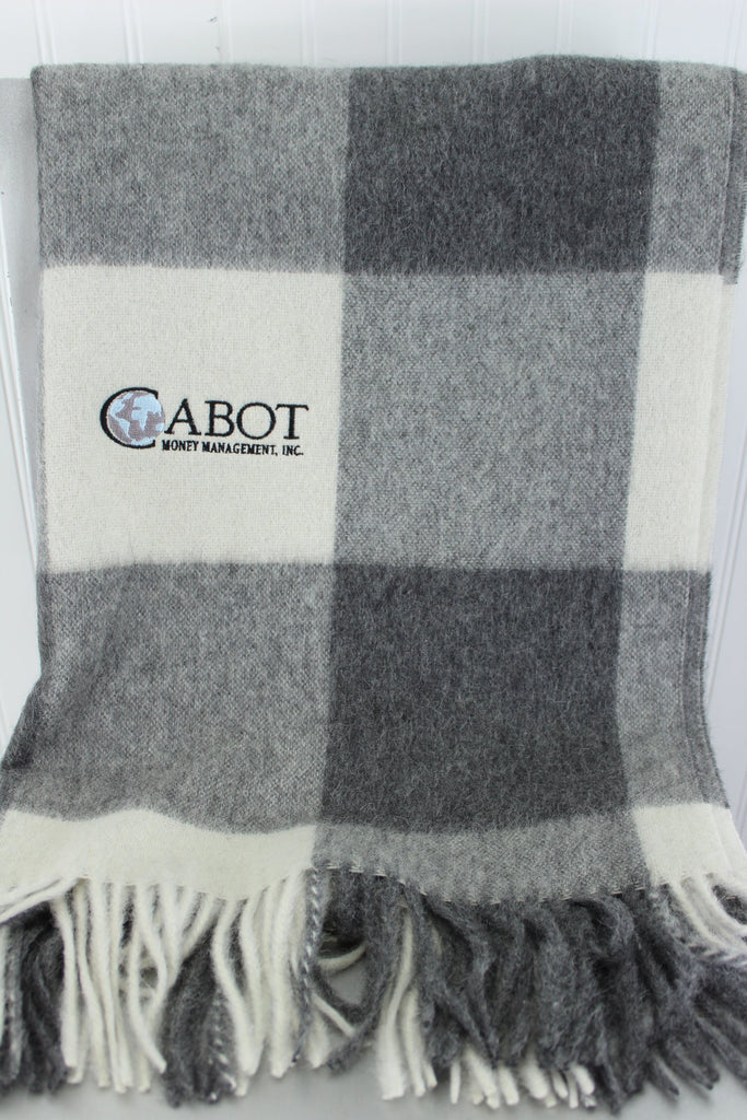 Linen Way Throw Blanket  Alpaca Wool Luscious Grey White Cabot M'ment Logo management