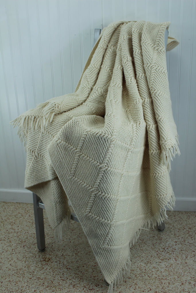 "Hand Made Afghan Dimensional Design Acrylic Blend Throw Ivory 45"" X 71"" Knotted Fringe different"