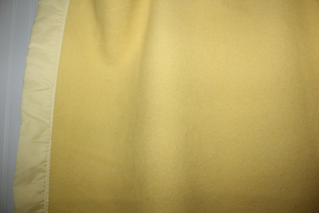 "Vintage Wool Blanket Yellow Vintage 72"" X 81"" Unusually Nice Weave collectible"