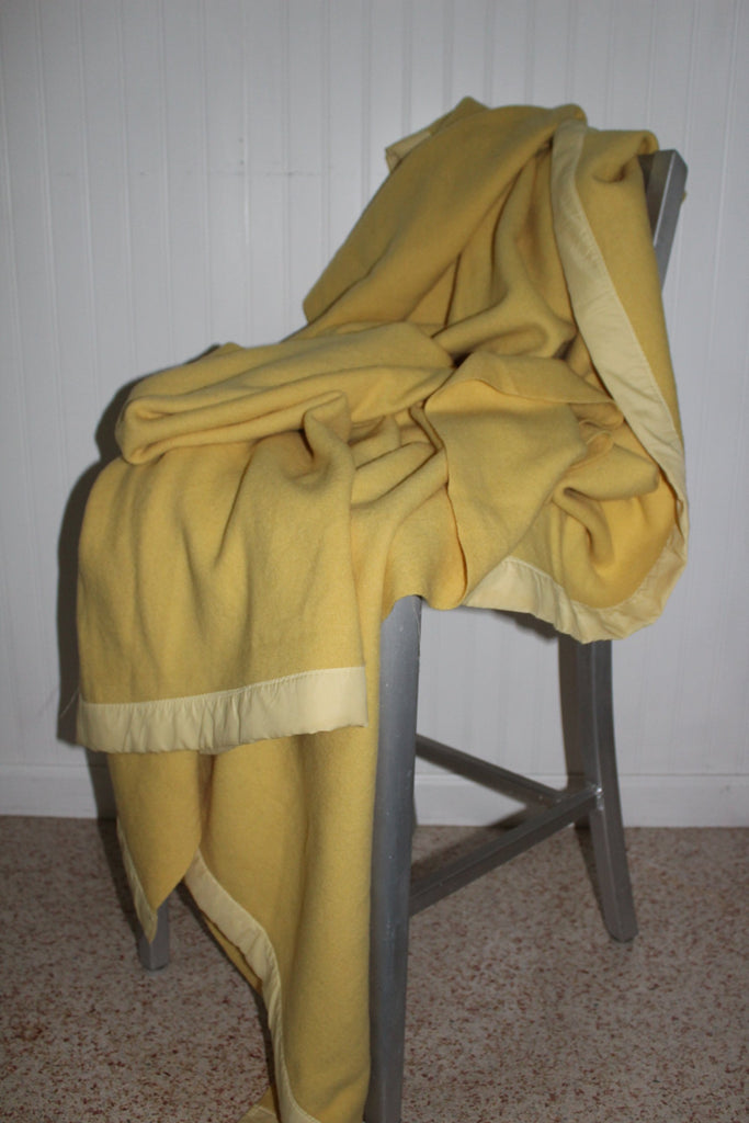 "Vintage Wool Blanket Yellow Vintage 72"" X 81"" Unusually Nice Weave sunshine"