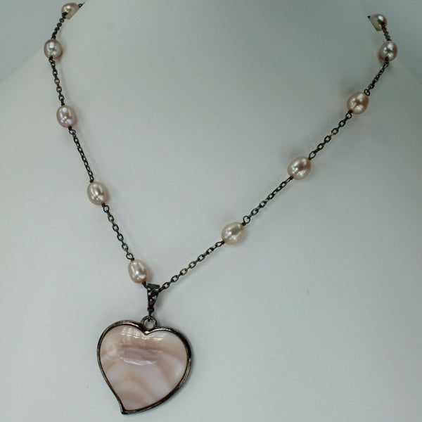 Mother Pearl Necklace LUC Lameth 925 Pink Heart Pearl Silver Chain Charming