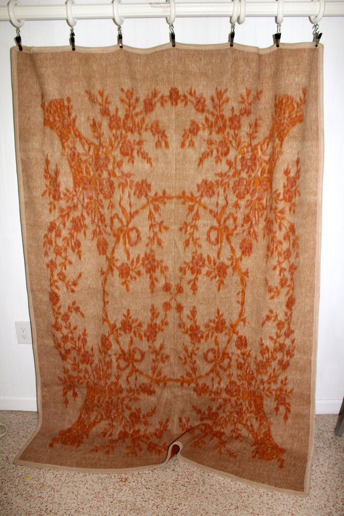 "Heavy Travel Rug Blanket Reversible Oranges Beige 56"" X 80"" Weight 5 lbs rare"