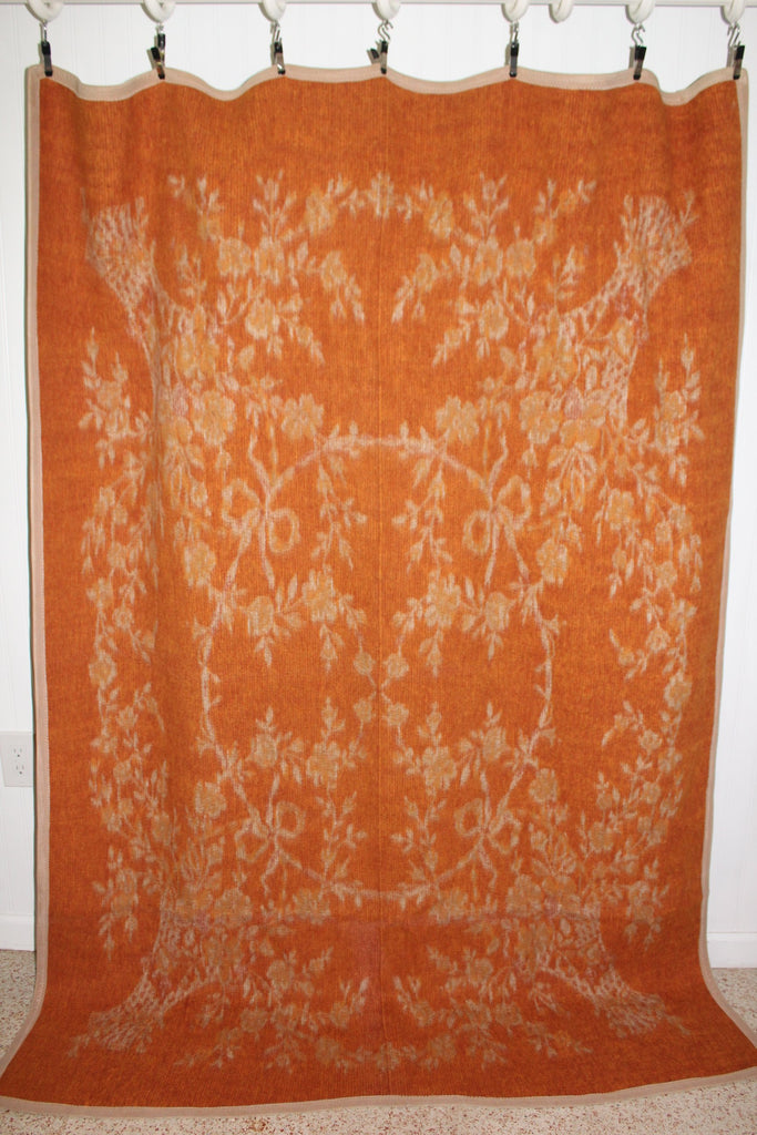 "Heavy Travel Rug Blanket Reversible Oranges Beige 56"" X 80"" Weight 5 lbs collectible"