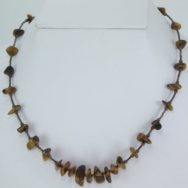 "Necklace Tigers Eye Nugget Shapes Silver Beads Great Feel Look 16""  browns"