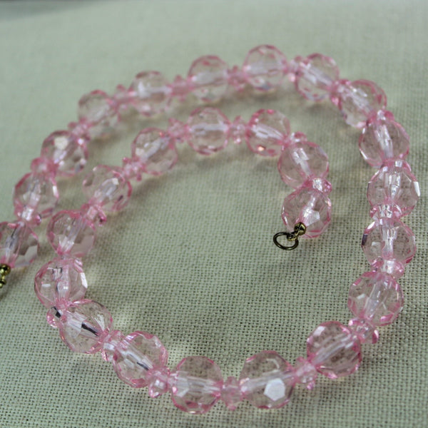 Vintage Pink Lucite Bead Necklace Faceted Mid Century 1960s