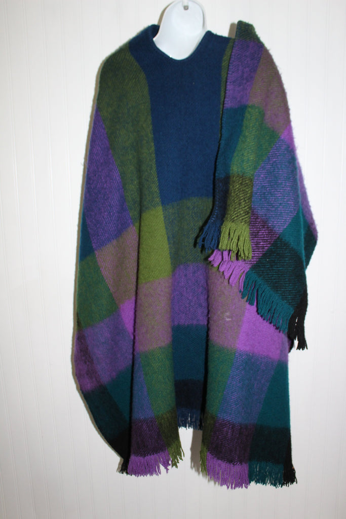 Columbia SA Wool Ruana Poncho Marlene Ziam Green Blue Turquoise Purple Heavy Thick Andes Style vibrant colors