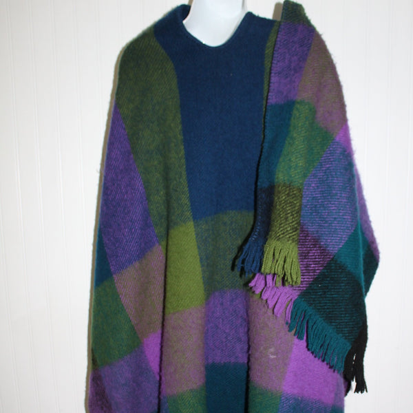 Columbia SA Wool Ruana Poncho Marlene Ziam Green Blue Turquoise Purple Heavy Thick Andes Style