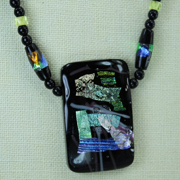 Artisan Dichoric Glass Necklace Black with Vibrant Colors beads