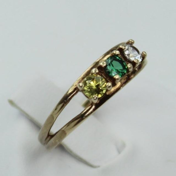 TRUBRITE Vintage Ring  P 10K Yellow Gold Citrine Green Clear Stones