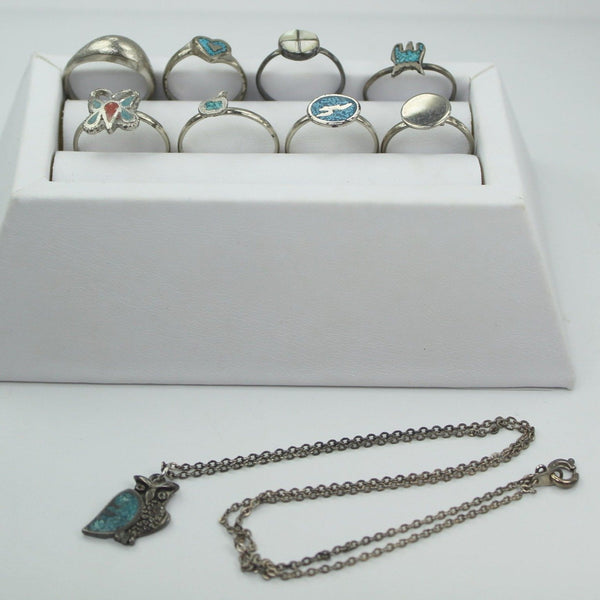 Lot 8 Costume Rings 1 Owl  Necklace Turquoise Southwest Designs