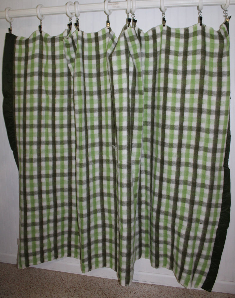 North Star Chatham Acrylic Blanket Green White Plaid Unused rare colors