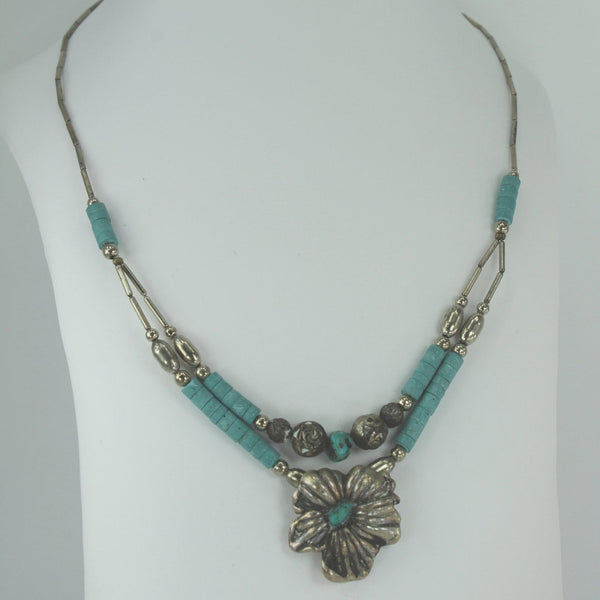 Southwest Necklace Turquoise Silver Beads Flower Focal 2 Strand