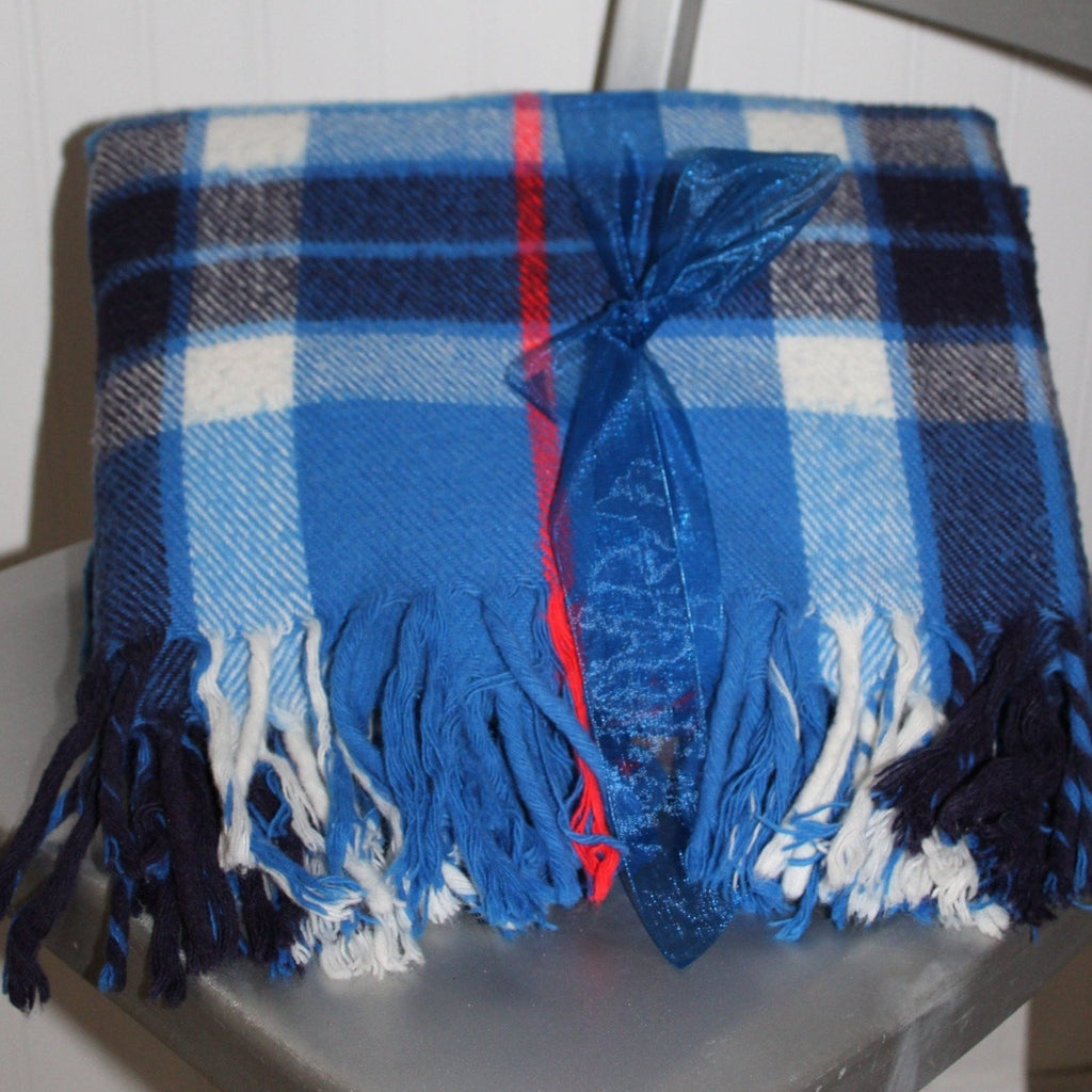 "Faribo Plaid Throw All Season Fluff Loomed Blue Plaid  54"" X 62"""