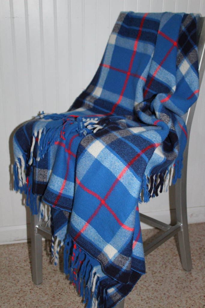 "Faribo Plaid Throw All Season Fluff Loomed Blue Plaid  54"" X 62"" washable"