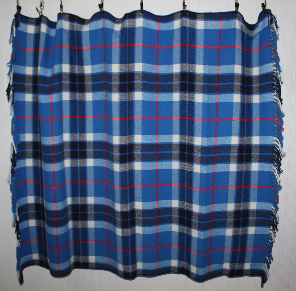 "Faribo Plaid Throw All Season Fluff Loomed Blue Plaid  54"" X 62"" usa made"