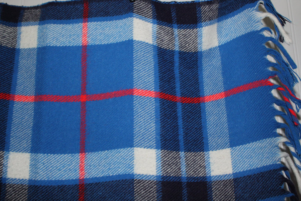 "Faribo Plaid Throw All Season Fluff Loomed Blue Plaid  54"" X 62"" tartan"
