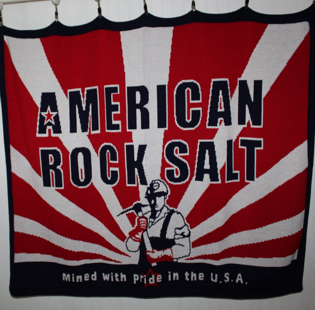 American Rock Salt Company Throw Blanket  Acrylic Knit Logo