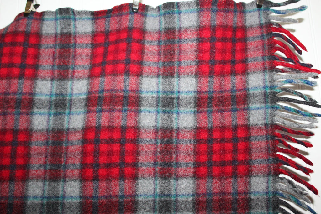 Pendleton Fringed Wool Throw Vintage Red Grey Blue Plaid Special Price diy fabric