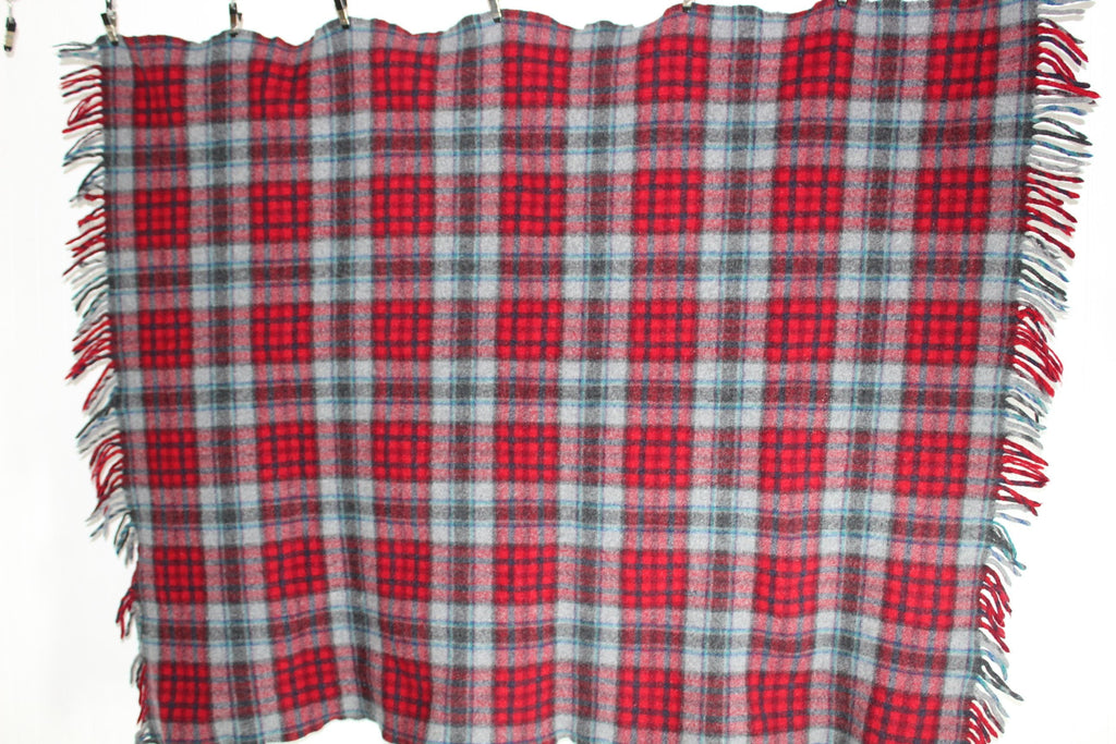 Pendleton Fringed Wool Throw Vintage Red Grey Blue Plaid Special Price sale
