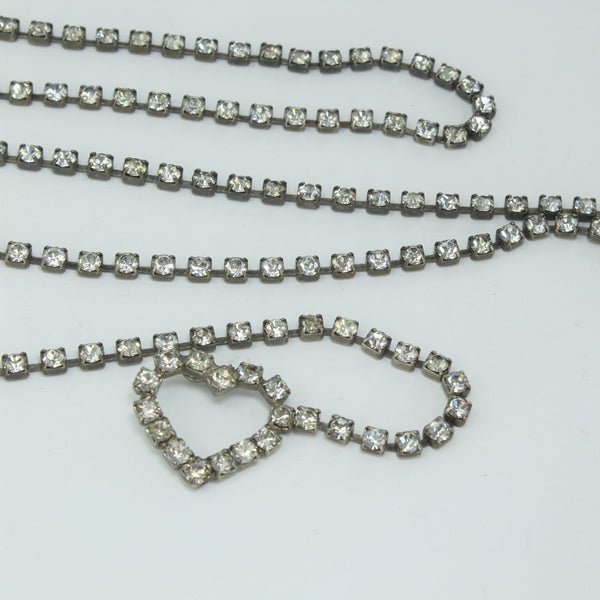 "Vintage Rhinestone Belt Heart 38"" Chain Wrap Necklace costume maker"
