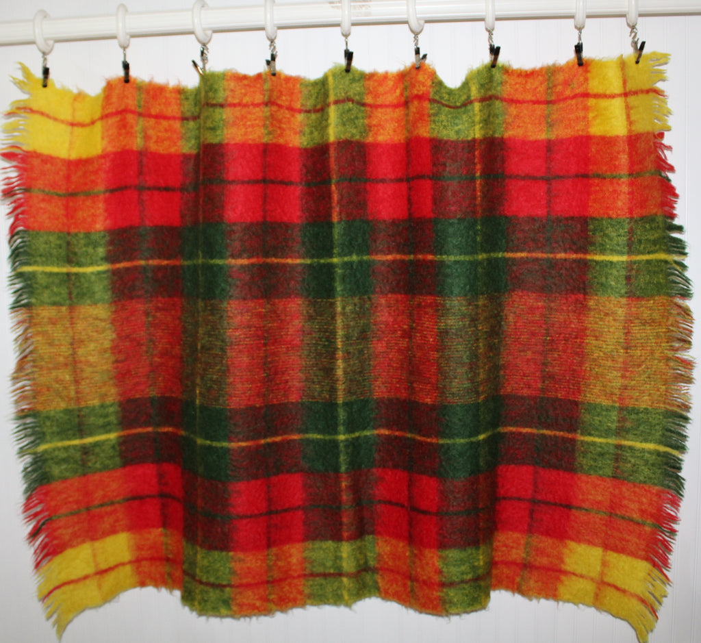 Glen Cree Mohair Throw Scotland Gorgeous Colors Red Moss Green Yellow rare find