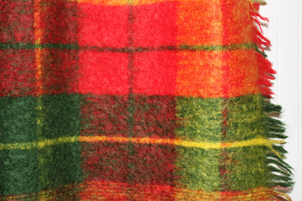 Glen Cree Mohair Throw Scotland Gorgeous Colors Red Moss Green Yellow soft
