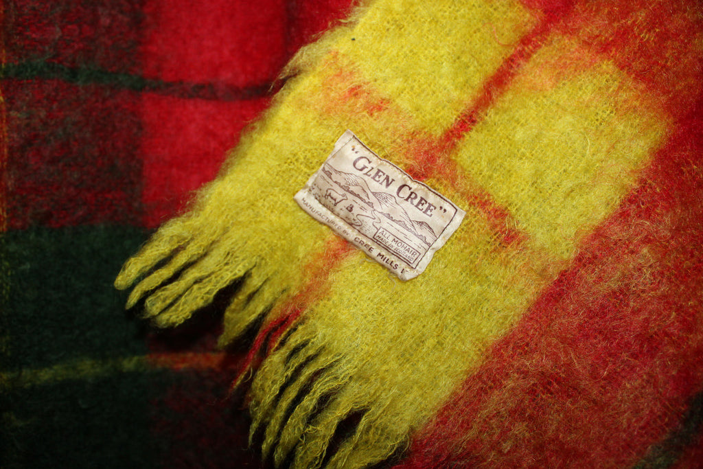 Glen Cree Mohair Throw Scotland Gorgeous Colors Red Moss Green Yellow unusual
