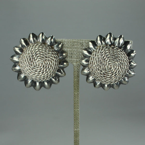 Vintage Mexico Earrings Sterling Clips Dimensional Sunflower