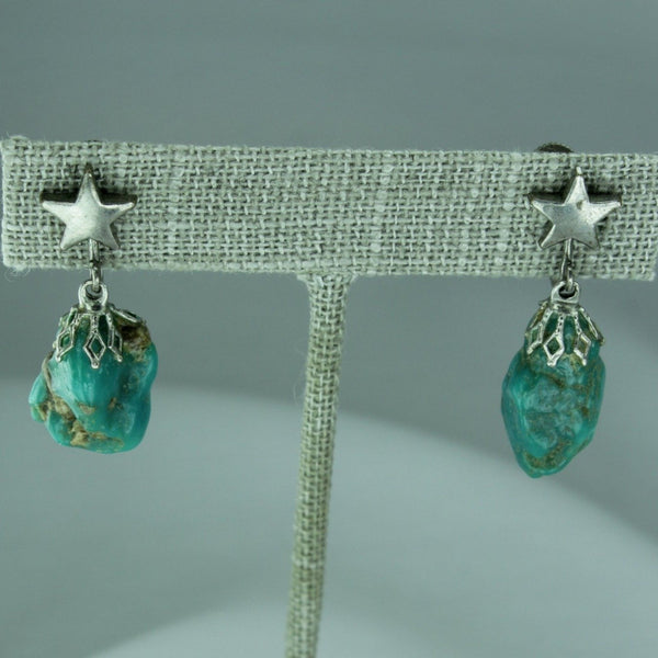 VintageTurquoise Earrings Nugget Star Dangle Screw Finding natural
