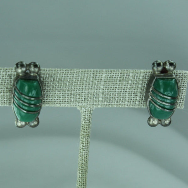 Vintage 1940s Earrings Sterling Green Stone Mexico Screw Finding